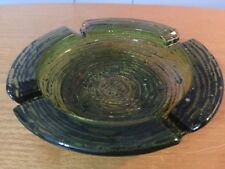 "Vtg Anchor Hocking Soreno Avocado Green Glass 6 1/4"" Diameter Ribbed Ashtray"