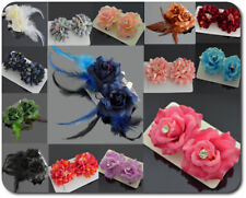 1 Paar Haarblüte 2 Haarclip Haarspange Stoff  Blumen Rose 3 Modelle/10 Farben