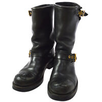 CHANEL CC Logos Medium Boots Shoes Black Leather France Authentic A36505b