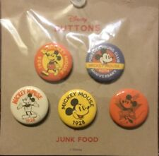 Mickey Mouse Pin Back 5 Button Set 2018 Disney Junk Food 90th Anniversary
