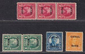 Canal Zone Scott 71//75 F/VF MNH 1924 Overprinted US 4th Bureau Issues SCV $126