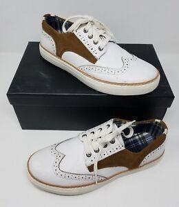 Joe's Waldo Leather Sneakers Saddle Shoes Mens 8.5 White Brown Style# JG705S13