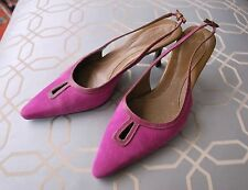 Cole Haan Pink Suede Bow Kitten Heel Sandals Shoes Sz 7-1/2 Pointy Toe