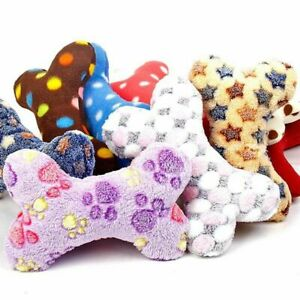 Cute Pet Dog Soft Fluffy Bone Plush Toy Puppy Chew Fetch Toy Bite Play Toys fdga