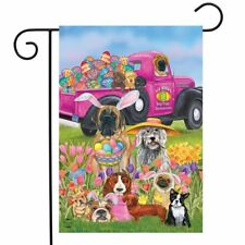 """Easter Dogs Holiday Humor Garden Flag Decorated Eggs 12.5"""" x 18"""" Briarwood Lane"""