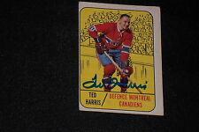 TED HARRIS 1967-68 TOPPS SIGNED AUTOGRAPHED CARD #10 CANADIENS