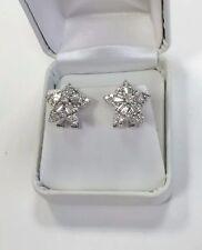1.30 ctw Star Cluster Earrings 18k White Gold Genuine Round Baguette Diamonds