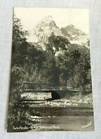 Twin Peaks Teton National Park Real Photo Postcard Signed Crandall 1945-50
