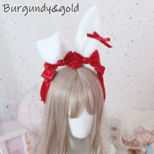 Girls Lolita Headband Fluffy Bunny Ear Headwear Hair Accessory Cosplay Ornament