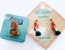 Vintage 90's Disney Little Mermaid Ariel Earrings And Pin Set By Applause. New