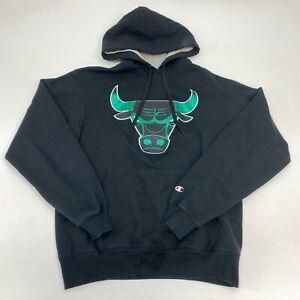 Champion Chicago Bulls Drawstring Hoodie Men's Medium Long Sleeve Black