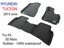 To suit Hyundai Tucson Black Rubber 3D Car Floor Mats 2015 onward