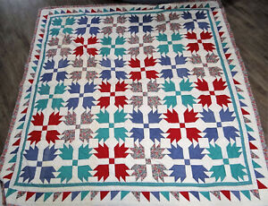 """Vtg Antique Hand Stitched Quilt BEARS PAW CLAW Quilted 86"""" x 8"""" Red/Blue/Green"""