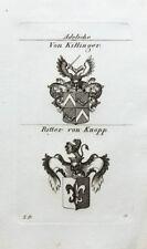 1827 Wappen Adelige Killinger von Knopp Ritter Kupferstich Tyroff