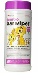 """Petkin Jumbo Ear Wipes For Cats & Dogs x80 7"""" x 5"""" Cleaning Wipes With Aloe Vera"""