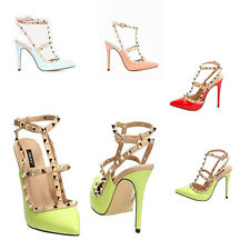 WOMENS CUT OUT T-BAR STUDDED POINTED TOE COURT SHOES LADIES SANDALS NEW SIZE 3-8