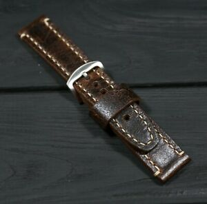Brown Leather Watch strap Soft Thick English leather band, Custom Birthday gift