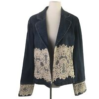 Berek Vintage Denim Jean Jacket Women's Size XL Blue Beaded Lace Floral Detail