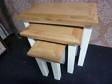 New Assembled Chunky Oak & Cream Nest of 3 Tables *Furniture Store*
