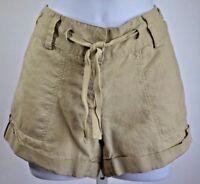 Forever XXI womens small tan shorts cuffed belted lightweight linen flat front