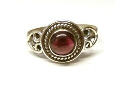 Handmade 925 Sterling Silver Patterned Ring with Real Garnet Stone Size N