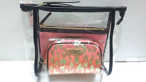 Victoria's Secret Clear Coral Pink Leopard & Gold Cosmetic Bag Trio Set NWT