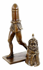 Priapus - The God of Fertility, Erotic Bronze Figurine, two Parts - sign. Nick