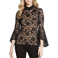 KAREN KANE NEW Women's Brown Mock Neck Lace Bell Sleeve Blouse Shirt Top XS TEDO