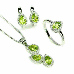 Earring Pendant Ring Green Peridot Genuine Gems Solid Sterling Silver P US 7.75