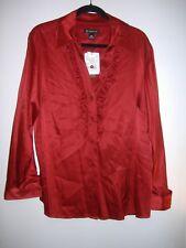 INC International Concepts Woman  PLUS 16W  RED SATIN Silk Long Sleeve Blouse