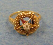 ANTIQUE 10K YELLOW GOLD EASTERN STAR ENAMEL DECORATED MASONIC RING