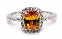 Sterling Silver Yellow Sapphire And Diamond 3.6ct Ring (925) Size 7 (N)