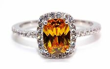Sterling Silver Yellow Sapphire And Diamond 3.6ct Ring (925) Size 9 (R)