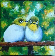 Tableau original de Caillon 20x20 cm petits oiseaux couple