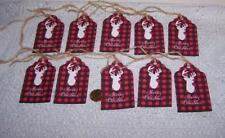 10~Christmas~Deer~Lumberj ack~Red Plaid~Fussy Cut~Linen Cardstock~Gift~Hang~Tags