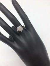 Silver Fashion Ring White Opal Style Heart Stone