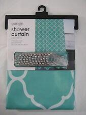 New Garson Shower Curtain Moroccan Teal Design Polyester w/ 12 Roller Ball Hooks