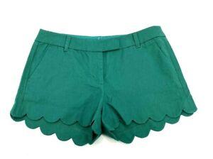 J Crew Womens Watermelon Green Linen Scalloped Edge Shorts Sz 10 NEW