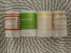 NATIVE~LOT OF 4~ MINI'S/SAMPLES/TRIAL/TRAVEL~ASSORTED DEODORANTS 0.35oz EACH