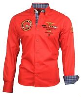 Hemd Herrenhemd Herren Hemden Shirt bestickt Stickerei 82104 rot Binder de Luxe