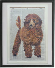 Poodle Print No.789, red poodle, dictionary art, housewarming gifts