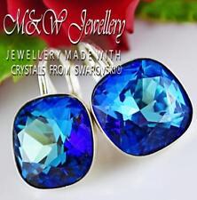 925 SILVER EARRINGS CRYSTALS FROM SWAROVSKI® 12MM FANCY STONE - BERMUDA BLUE