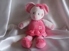 Doudou souris rose et blanc, Nicotoy