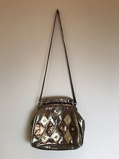 Women's Vintage 1970's Glam Metallic Bronze & Gold Leather Purse, Pre-Owned