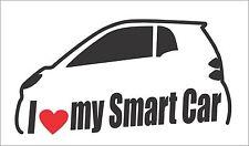I Love my Smart Car Bumper Window Vinyl Decal Sticker Hatchback Diesel Euro