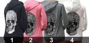 Damen Pullover-Jacke schwarz Totenkopf Skull Strass Glitzer Longsleave Neu