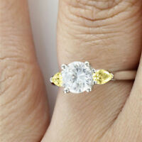 1.00 Ct Natural Diamond Real Yellow Sapphire Ring 14K Solid White Gold Size N M