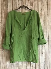 Juicy Couture Green Linen Drawstring Top Pullover Cover Up Blouse L Large *