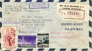 GP GOLDPATH: EL SALVADOR COVER 1956 REGISTERED LETTER AIR MAIL _CV680_P10