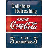 Coca Cola Delicious Rinfrescante Goffrato Segno Del Metallo 400mm x 300mm (Na)